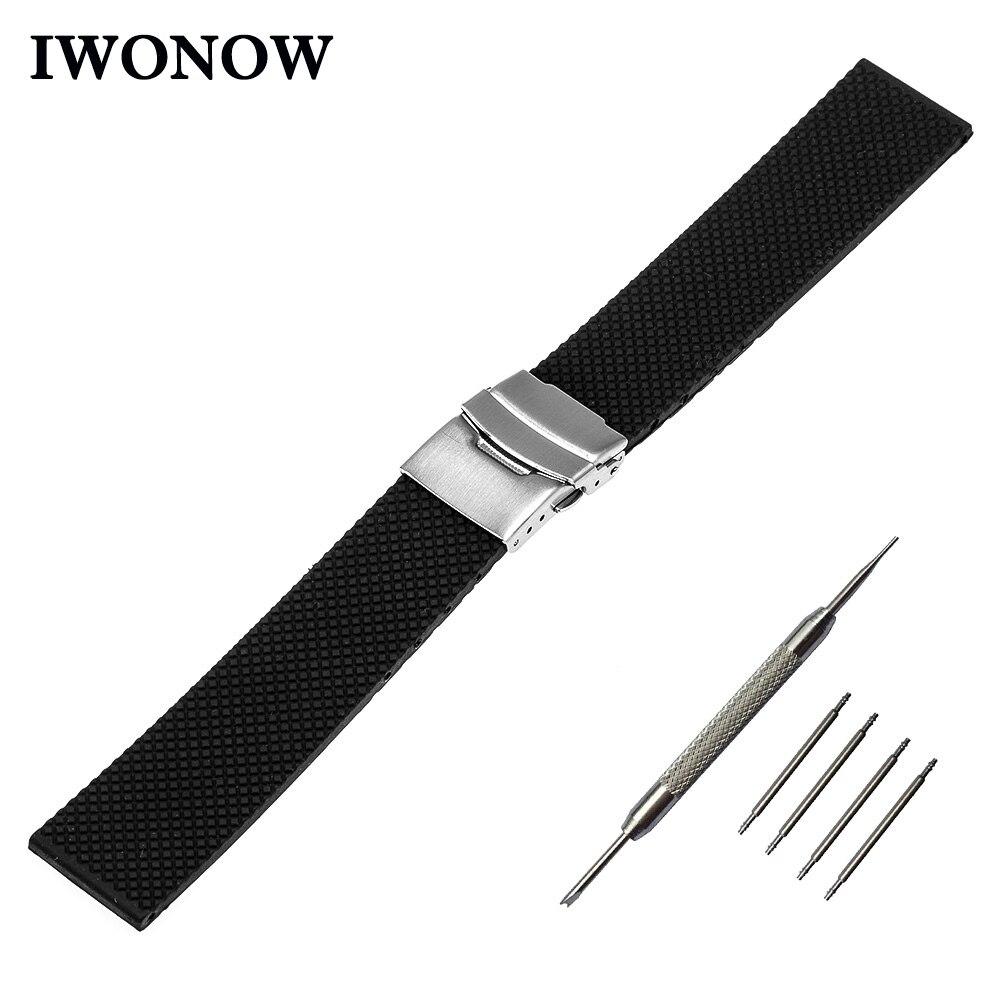 купить Silicone Rubber Watchband 22mm for Samsung Gear 2 R380 Neo R381 Live R382 Gear S3 Galaxy Watch 46mmm Band Safety Buckle Strap по цене 543.3 рублей