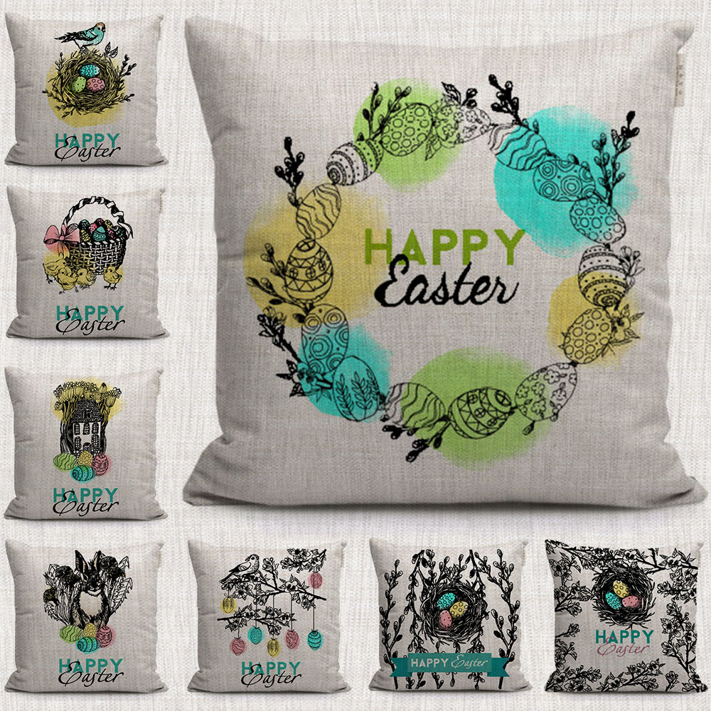 happy easter gift eggs decorative pillows cover lovely Small rabbit and Bird nest pattern throw ...