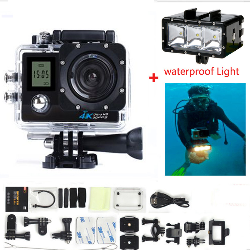 Action Camera Ultra HD 4K 1080p 170 Degree Wide View Angle WiFi Allwinner V3 Sports Camera Extra Add Waterproof Light 2017 original eken h9r sports action camera 4k ultra hd 2 4g remote wifi 170 degree wide angle
