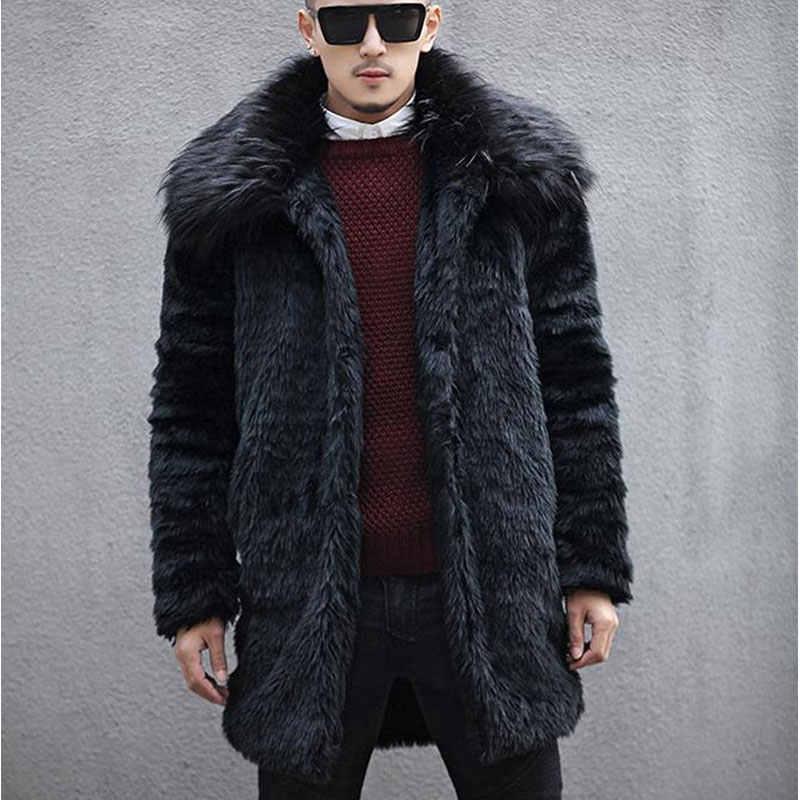 2018 новые зимние мужские пальто из искусственного меха кролика с воротником из лисьего меха, трендовая Меховая куртка с отложным воротником, черные длинные модные пальто