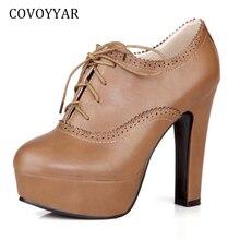 ¡Novedad del 2019! zapatos de tacón Oxford con plataforma Vintage de COVOYYAR, botines cuadrados de tacón alto para mujer, tallas grandes wh652