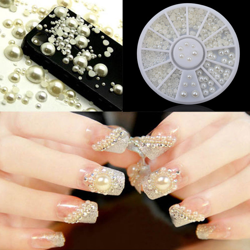 3D Fashion White Nail Art Tips Pearl Acrylic Gem Glitter Manicure DIY Decoration HJL2018
