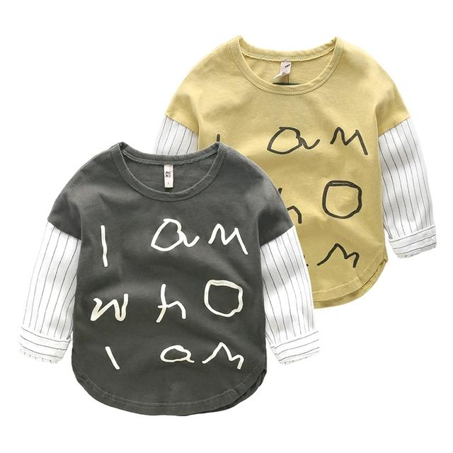 T-shirt de manga comprida de algodão do bebê das crianças tops primavera meninos roupas de primavera