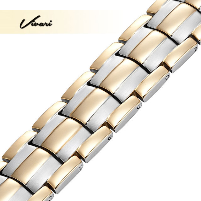 Vivari 2017 Men 4in1 Joyas Stainless Steel Bracelet 44pcs Magnets -ve Ions Germanium Infra Red Gold Fashion jewelry Wristband