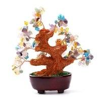 Awenturyn KiWarm Nowoczesne 6 Cal Multi colored Feng Shui Kryształ Quartz Gem Stone Money Tree dla Bogactwo Pieniądze Główna Ozdoba prezent