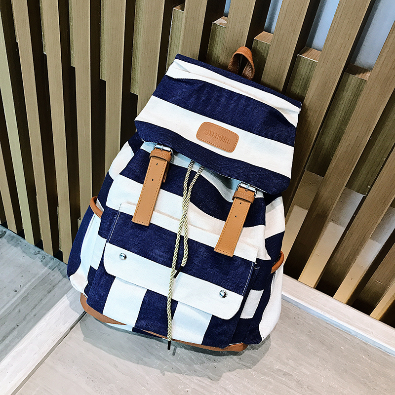Canvas Casual Striped Backpack for Women Female Blue White Stripe Backpack Rucksack Drawstring Canvas School Bolsas Mochila