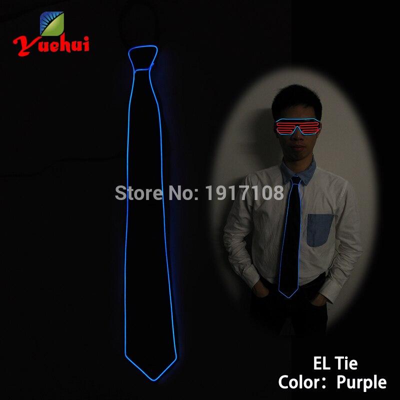 NEW Fashion10 color Luminous Party decorative Flashing LED Neck tie EL Wire Necktie For Night Club,dance,DJ,Wedding Decoration