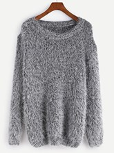 Sweater New Long Sleeve Round Neck Casual Solid Fashion Women Pullover Fuzzy Chunky Knit Tops