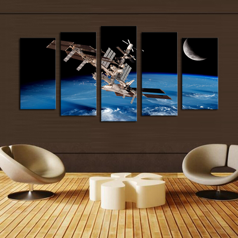 5 Panel Space ship Canvas Painting Wall Art Picture Home Decoration wall  pictures forLiving Room Print