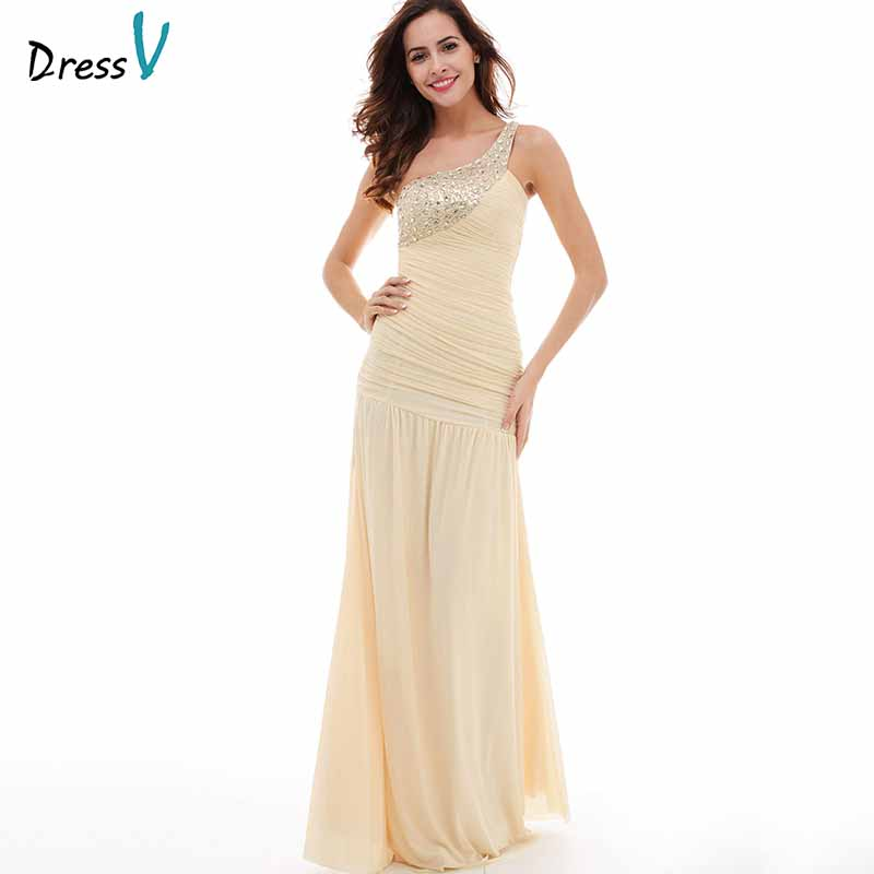 Dressv champagne   evening     dress   cheap one shoulder sheath ruched floor length wedding party formal   dress   beading   evening     dresses