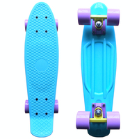 Pastel Skateboard Plastic Longboard Mini Cruiser 22 Retro Skate Board Complete No Assembly Required