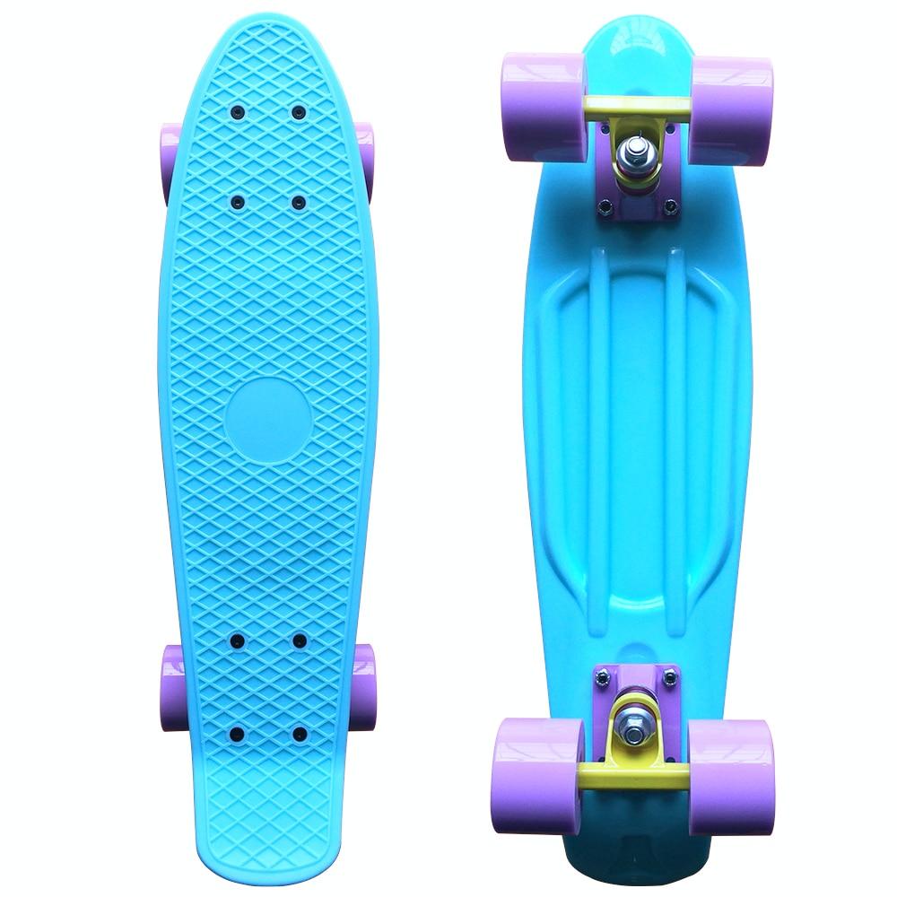 CHI YUAN Pastel Skateboard Plastic Longboard Mini Cruiser 22