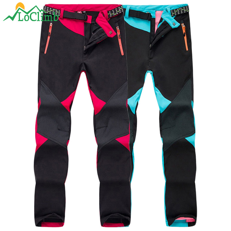 LoClimb Women Winter Softshell Ski Pants Warm Fleece Waterproof Trousers Outdoor Trekking Mountain Climbing Hiking Pants,AW086 цена