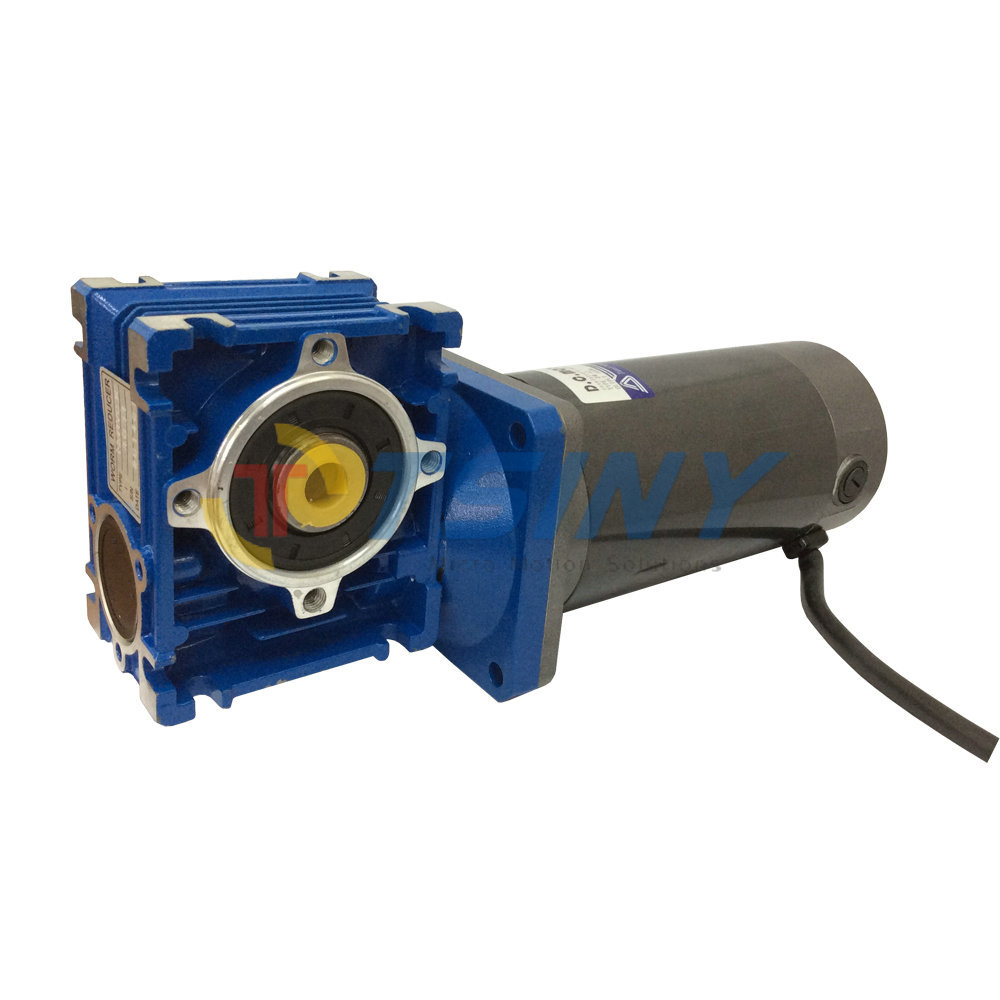 24VDC Worm Geared Motor 100W Power Low Speed 22RPM with Gear Box Gear Head 12vdc worm boxing geared motor 100w power electric motors with gear boxes gear head large torque