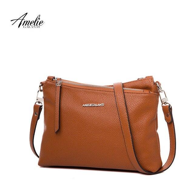 AMELIE GALANTI Fashion Women's Bag Pocket with Compartment Women Handbags Casual Multi-pocket Soft PU Leather Crossbody Bag
