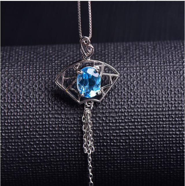 Real blue topaz necklace Free shipping Natural blue topaz 925 sterling silver 7*9mm shdede blue 7