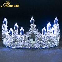جديد براق متوهجة التيجان الأبيض الأزرق أدى ضوء الإكليل لعروس اكسسوارات للشعر حجر الراين تاج الزفاف الفاخرة أميرة HG107
