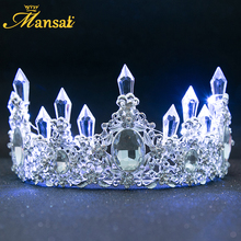 New Shining Glowing Tiaras White Blue LED Light Rhinestone Wedding Crown Luxury Princess Diadem For Bride