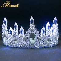 Nowy Shining Korona Diadem Biały Niebieski Led Świecące Rhinestone Wedding Luksusowe Księżniczka Diadem Dla Panny Młodej Włosów Akcesoria HG107