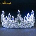 Nueva Shining Brillante Blanca Luz LED Azul Rhinestone de La Corona de La Boda Tiaras Accesorios Para el Cabello Diadema De Princesa de Lujo De Novia HG107