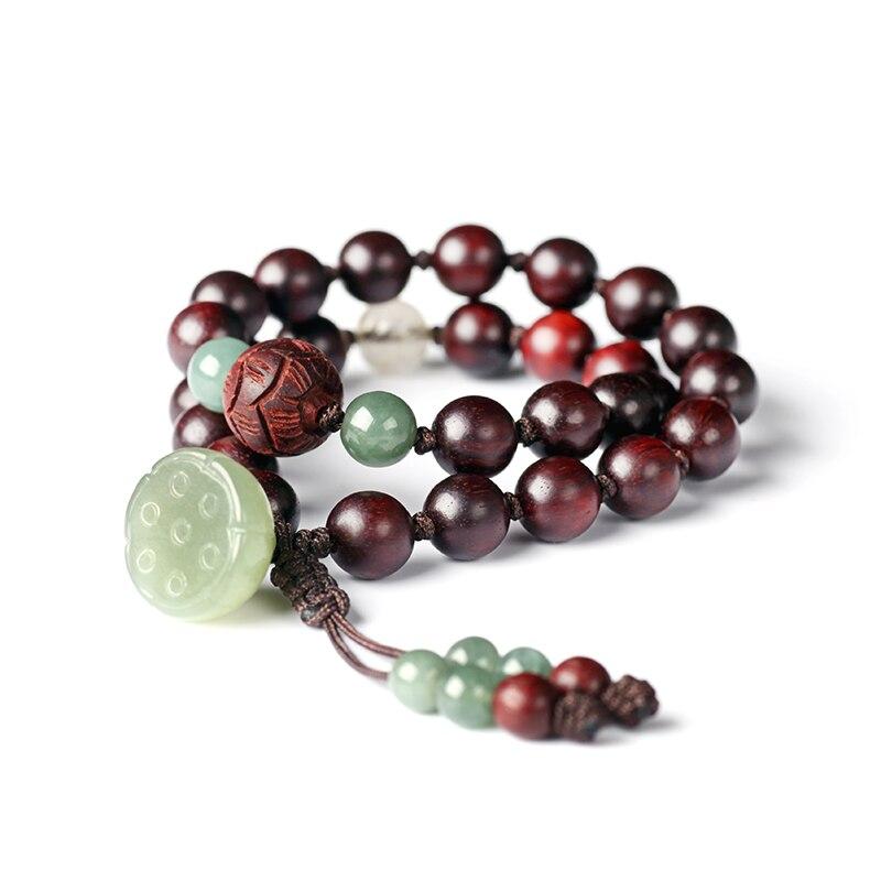 Grânulos redsândalo artesanal pulseira lótus frisado envoltório pulseira boa sorte pulseira senhora jóias presente