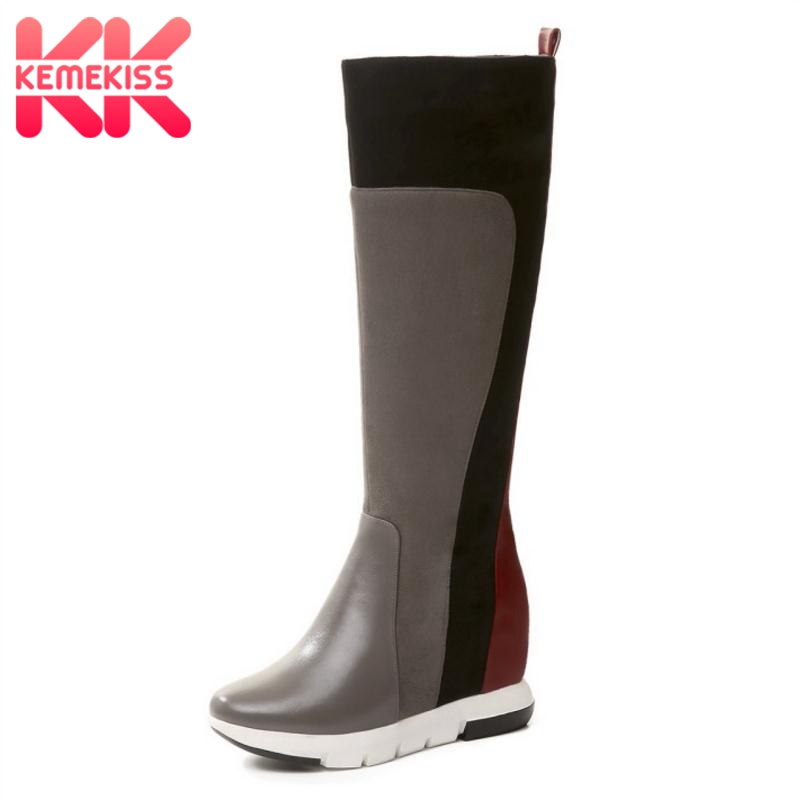KemeKiss Woman Boots Genuine Leather Winter Knee Boots Shoes Women Mixed Color Inside Heels Boots Fashion Footwear Size 34-39KemeKiss Woman Boots Genuine Leather Winter Knee Boots Shoes Women Mixed Color Inside Heels Boots Fashion Footwear Size 34-39