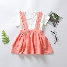 Summer Baby Girl Short Sleeve Solid Pattern Cotton T-shirt Blouse Mini Strap Skirts Casual Outfits Set