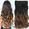Women Fashion 24inch 60cm One Piece Clip in Hair Extention Ombre Colored Wavy Hair Extensions Natural Black to Dark Brown B40