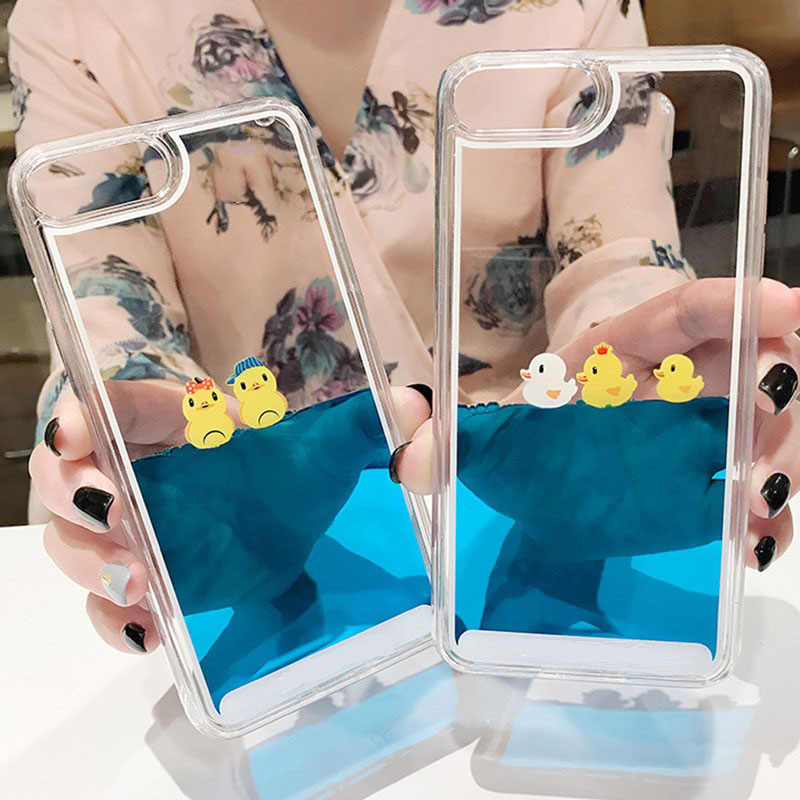 Luxury Cartoon 3D Swimming Duck Animal Dynamic Liquid Quicksand Cover Case For iPhone 5 5S 5SE 6 6S 7 8 Plus X Phone Cases