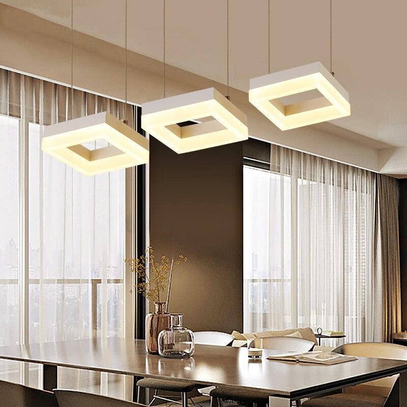Современные 3 Огни светодиодный подвесной светильник площадь линии простой Обеденная Ресторан Кухня Hanglamp Home Decor Светильник