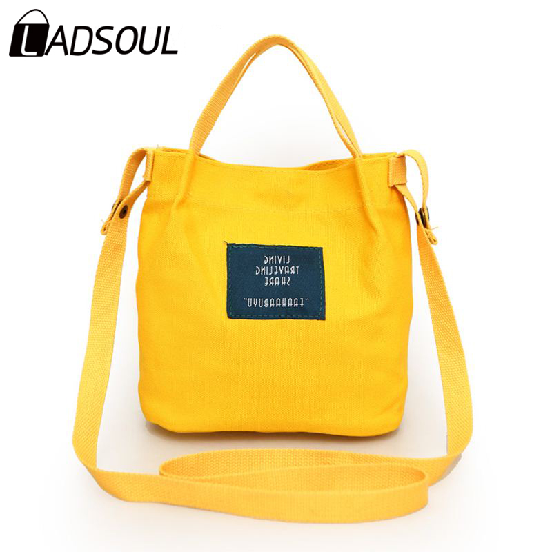 Ladsoul small Canvas shoulder bags new shopping handbags women bags designer candy color women messenger bags package crossbody