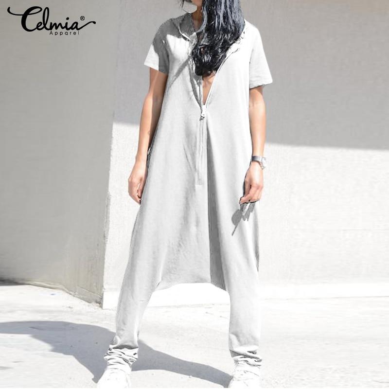 Celmia Plus Size Jumpsuits Vintage Women Overalls Baggy Harem Pants Female Drop Crotch Playsuits Femme Pantalon Zip Long Rompers