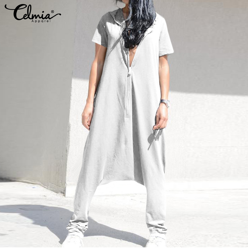 Celmia Plus Size   Jumpsuits   Vintage Women Overalls Baggy Harem Pants Female Drop Crotch Playsuits Femme Pantalon Zip Long Rompers