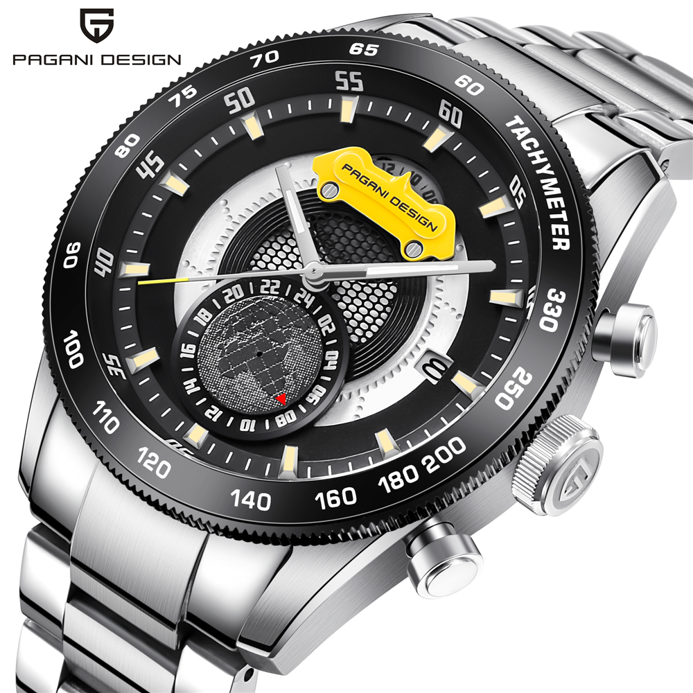Luxury Brand PAGANI DESIGN Chronograph Sport Watches Men Reloj Hombre Full Stainless Steel Quartz Watch Clocks Relogio Masculino