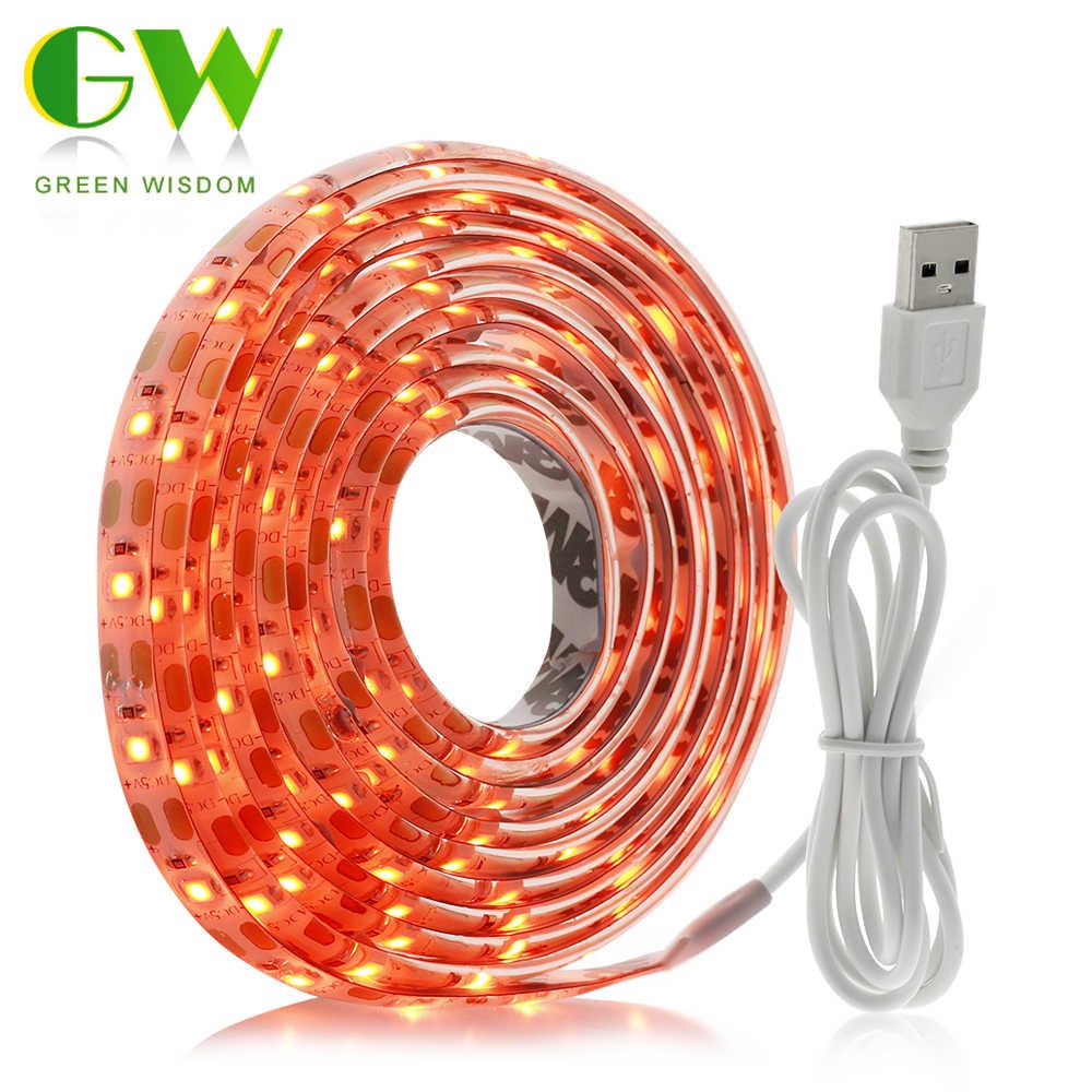 USB Светодиодная лента DC5V 2835 SMD Оранжевый Красный гибкий светодиодный свет неоновая лента 1 м 2 м для ТВ экран задний план смещение декоративное освещение