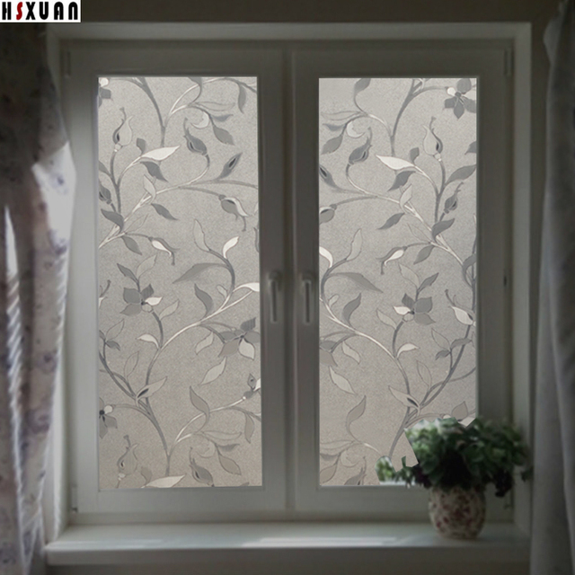 Decorative Window Privacy Film 45x100cm Frosted Opaque Flower Self Adhesive Bathroom  Window Stickers Hsxuan Brand