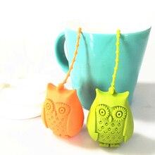 Креативный милый ситечко для чая в виде совы, чайные пакетики, пищевой силикон, фильтр для заварки чая с листьями, рассеиватель, веселые Мультяшные аксессуары для чая