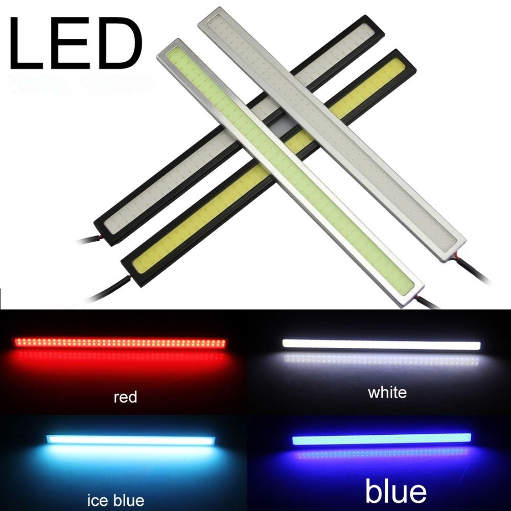 CYAN SOIL BAY 1 Pair 17CM 12V DRL Super White Blue Red Green Yellow Car COB LED Light Bulb Fog Driving Lamp Waterproof [sumbulbs] 200x10mm 0422 10w led light cob strip lamp dc 12 14v 1000lm green yellow red blue warm white pure white drl car light