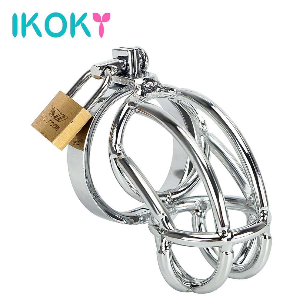 IKOKY Stainless Steel Cock Rings Penis Cage Penis Rings Delay Ejaculation Sex Toys for Men Male Adult Products G-Spot Massager