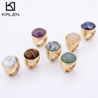 KALEN хрустальные кольца женские модные большие мраморные цветные каменные кольца женские размеры 6-9 античное серебро и золото свадебные Пра...