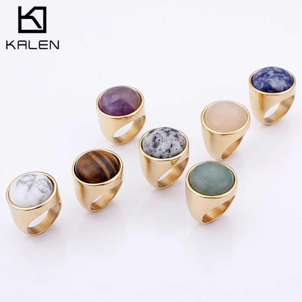 KALEN แหวนคริสตัลเลดี้แฟชั่นบิ๊กสีหินอ่อนหินแหวนผู้หญิงขนาด 6-9 โบราณ Silver & Gold แหวนเครื่องประดับ