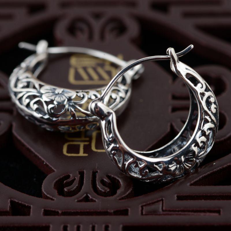 100% Real 925 Sterling Silver Female Fashion Jewelry Hollow Flower Vintage Earrings for Women girlfriends,mothers,friends Gifts|Hoop Earrings| - AliExpress