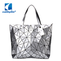 Saco novo designer de moda pérola das mulheres tamanho grande sacola espaçosa malha geometria bolsa Acolchoada Geométrica mosaico bolsa de ombro