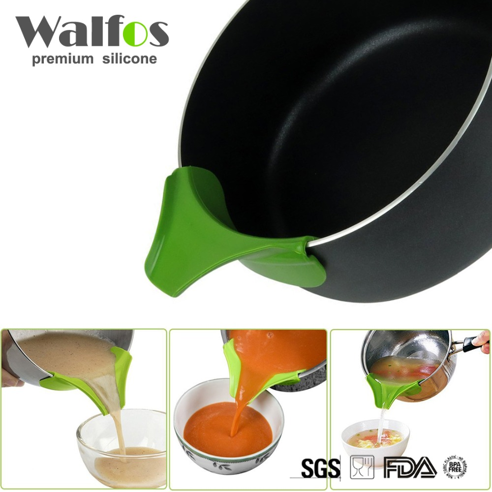 WALFOS Silicone Soup Funnel Kitchen Gadget, Anti-spill Edge Water Deflector Utensili da cucina