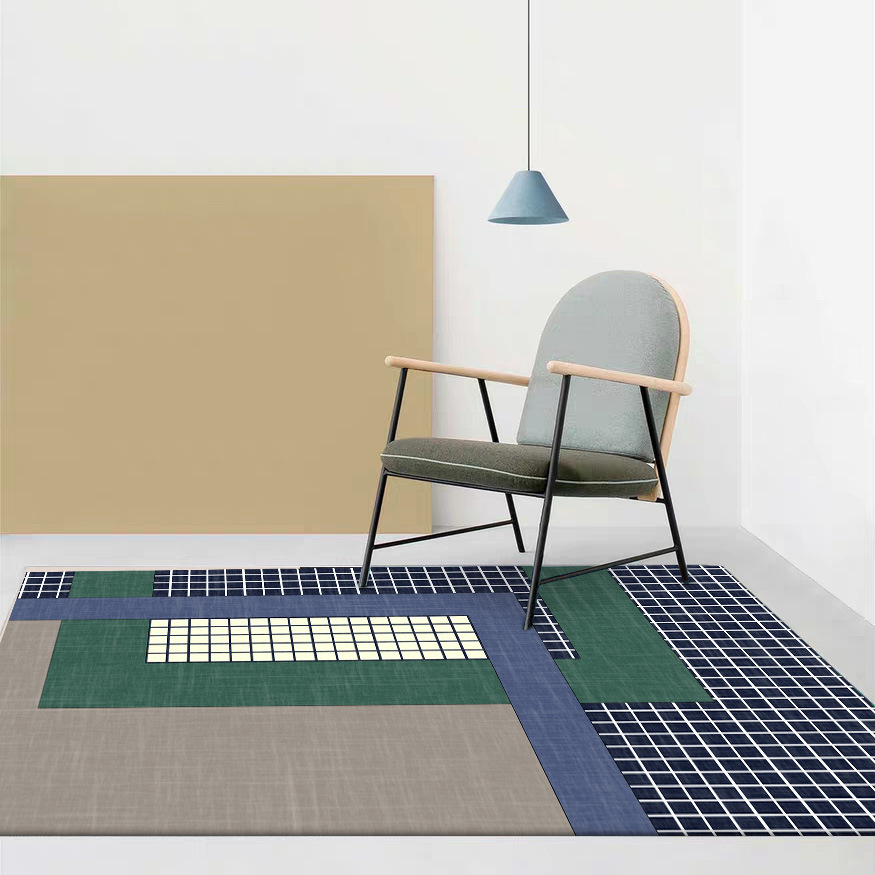 European abstraction geometric dark grid mat home bedroom bedside entrance elevator floor sofa coffee table anti slip carpet