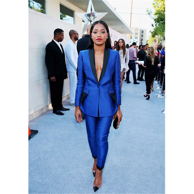 Royal Blue Womens Business Suits Black Lapel Female Office Uniform Trouser Suit Tuxedos Suits for wedding outfit