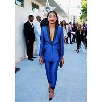 Royal Blue Womens Business Suits Black Lapel Female Office Uniform Trouser Suit Tuxedos Suits for wedding outfit