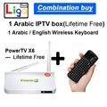 Arábica Caixa de TV ao vivo da vida livre nenhuma taxa mensal Android TV Box, 450 + da África, somália, canais + um Teclado Sem Fio francês