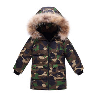 Kids Winter Jacket Baby Hooded Fur Children Patchwork Down Cotton Jacket Boy Warm Toddler Outerwear Parks Boy Winter Jacket Coat