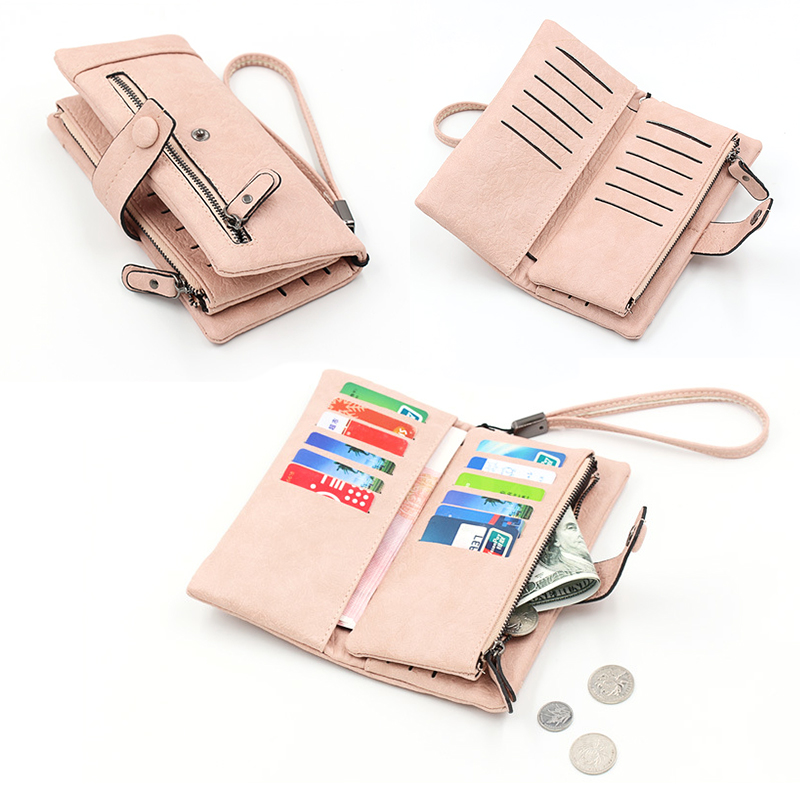 886faa33daf7 US $7.88 54% OFF|Fashion Soft Nubuck Leather Wristlet Purse Long Checkbook  Clutch Bag Large Capacity Zipper Long Wallet Phone Holder for Ladies-in ...